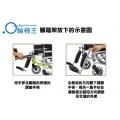 腳踏架放下的意圖, 用手抓住腳踏的旁邊的調節手炳, 沿箭咀的方向壓下調節手柄,用另一只手扶住腳踏板沿箭咀方向調節至合適的角度
